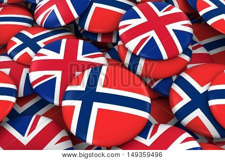 Norway And Uk Badges Background - Pile Of Norwegian And British Flag Buttons 3D Illustration