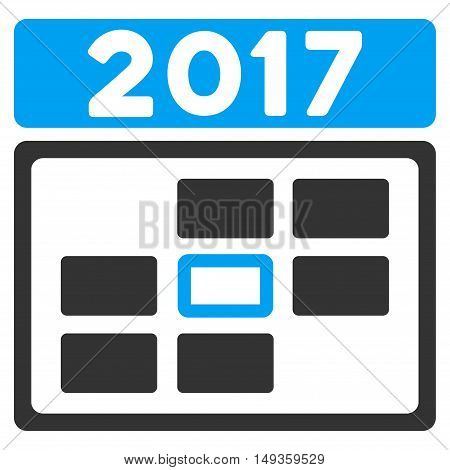 2017 Date icon. Glyph style is flat iconic symbol on a white background.