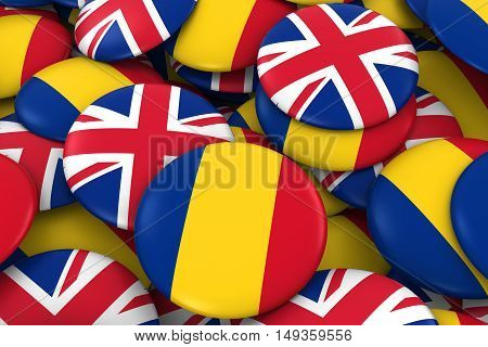 Romania And Uk Badges Background - Pile Of Romanian And British Flag Buttons 3D Illustration
