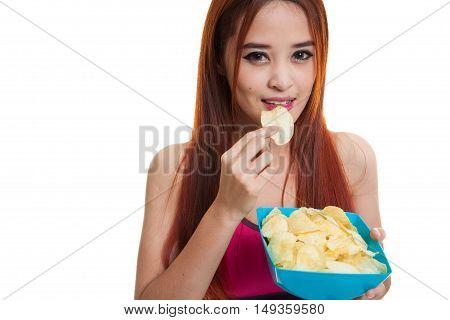 Beautiful Asian Healthy Girl  Eat Potato Chips.