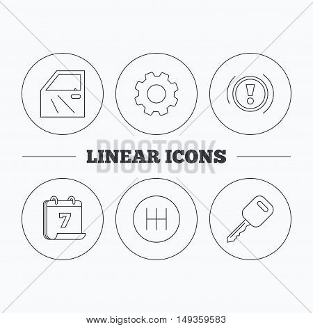 Car key, warning and manual gearbox icons. Car door, transmission linear signs. Flat cogwheel and calendar symbols. Linear icons in circle buttons. Vector