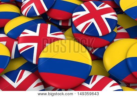 Colombia And Uk Badges Background - Pile Of Colombian And British Flag Buttons 3D Illustration