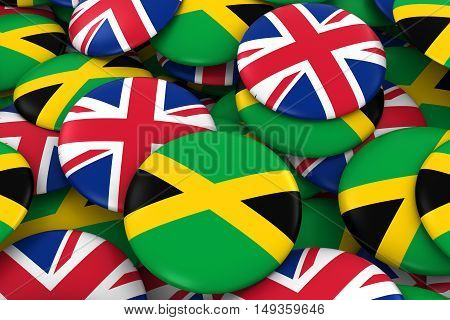 Jamaica And Uk Badges Background - Pile Of Jamaican And British Flag Buttons 3D Illustration