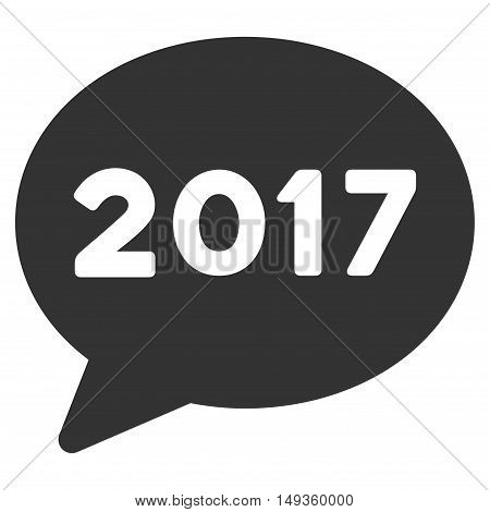 2017 Message icon. Glyph style is flat iconic symbol on a white background.