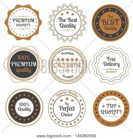 Set of beige and grey premium quality badges on white background vector illustration