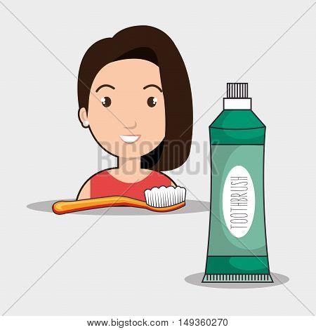 avatar woman smiling with dental brush and toothpaste. tooth care theme. vector illustration