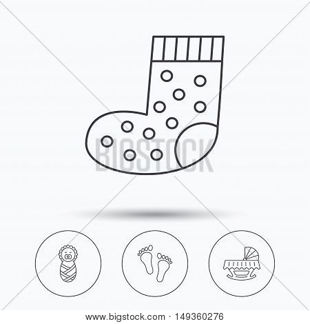 Footprint, cradle and newborn baby icons. Socks linear sign. Linear icons in circle buttons. Flat web symbols. Vector