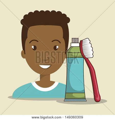 avatar man smiling with dental brush and toothpaste. tooth care theme. vector illustration