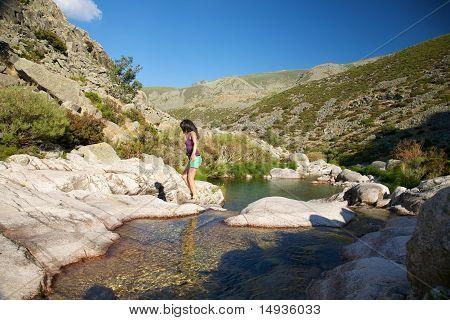 Summer Trekking At A Gredos River