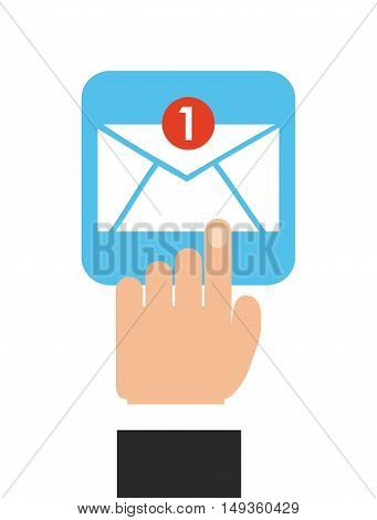 email send with hand human vector illustration design