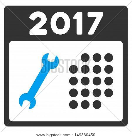 2017 Service Calendar icon. Glyph style is flat iconic symbol on a white background.