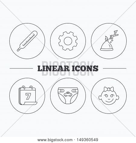 Thermometer, diapers and sleep hat icons. Baby girl linear sign. Flat cogwheel and calendar symbols. Linear icons in circle buttons. Vector