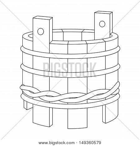 Vector line art wooden tub. Hand-drawn illustration isolated on white. Can be used for graphic design textile design or web design.