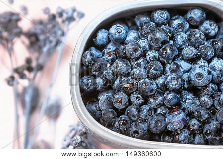 Fresh blueberries in a gray cup on pink background closeup.