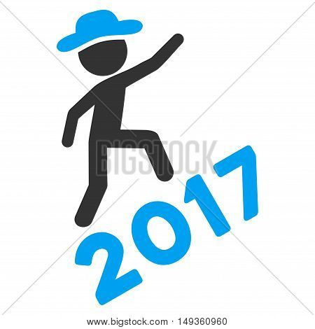 Gentleman Climbing 2017 icon. Glyph style is flat iconic symbol on a white background.