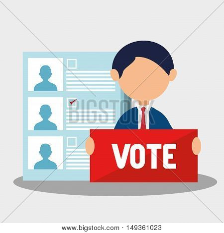 avatar man with vote sign and political candidates paper ballot. colorful design. vector illustration