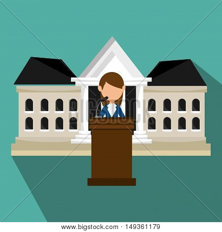 avatar woman political candidate on podium cartoon. vector illustration