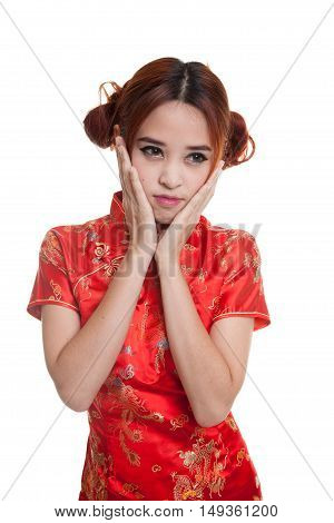 Sad Asian Girl In Chinese Cheongsam Dress.