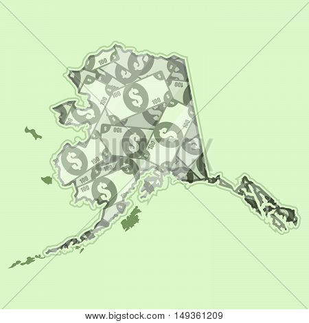 Map Alaska covered in money bank notes of one hundred dollars. On the map there is glass reflection. Conceptual.