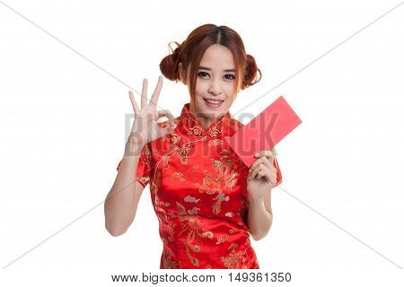 Asian Girl In Chinese Cheongsam Dress Show Ok With Red Envelope.