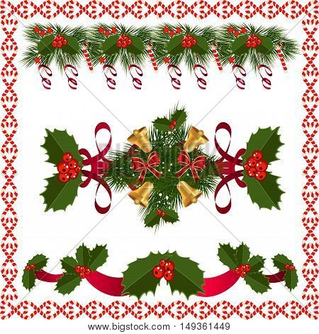 A traditional Christmas Garland made with red berries and ribbon on a white background.Festive Holiday Background. Garland Border Made Of Holly Berries