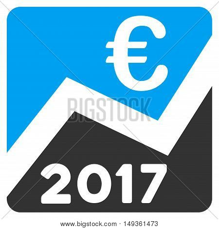 2017 Euro Chart icon. Vector style is flat iconic symbol on a white background.