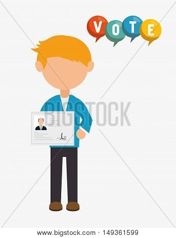 avatar man with political candidates paper ballot and colorful speech bubble. vector illustration