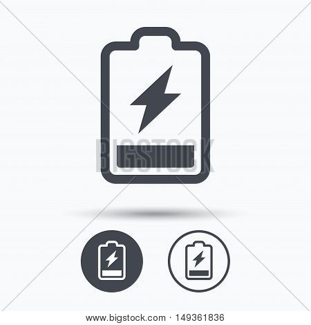 Battery power icon. Charging accumulator symbol. Circle buttons with flat web icon on white background. Vector