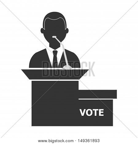avatar politcal candidate man wearing suit and tie on podium silhouette. vector illustration