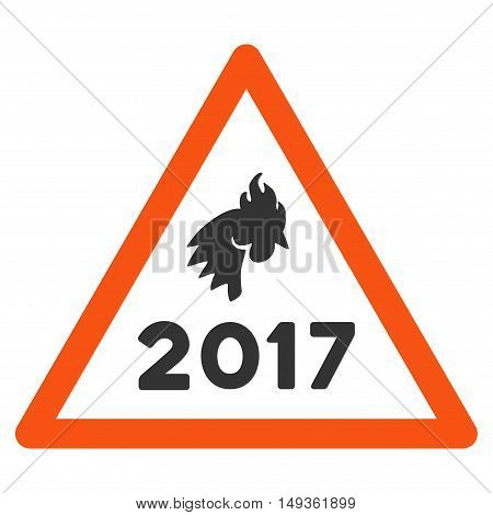 2017 Rooster Warning icon. Vector style is flat iconic symbol on a white background.