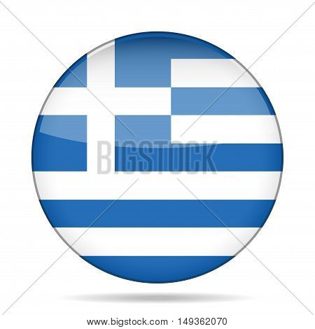 button with national flag of Greece and shadow