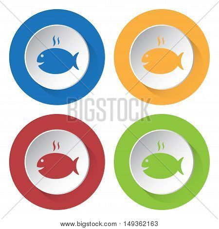 set of four colored icons - grilling fish with smoke