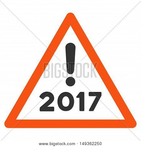 2017 Warning icon. Vector style is flat iconic symbol on a white background.