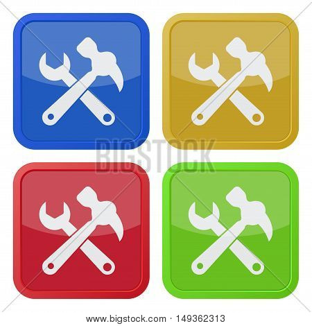 set of four colored square icons - claw hammer with spanner