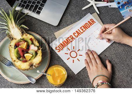 Summer Calendar Schedule Fun Happiness Concept
