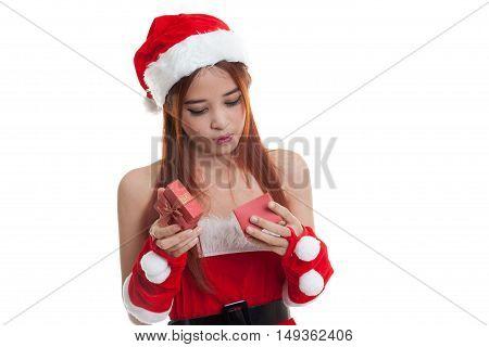 Asian Christmas Santa Claus Girl And  Gift Box.