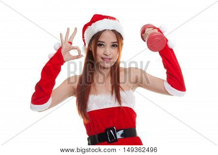 Asian Christmas Santa Claus Girl Show Ok With Red Dumbbell.