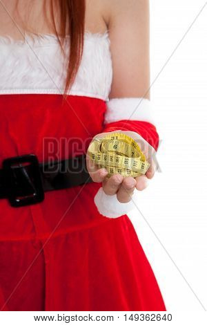 Asian Christmas Santa Claus Girl  Diet With  Measuring Tape.