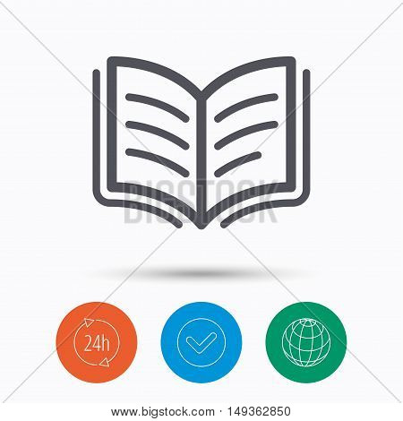 Book icon. Study literature sign. Education textbook symbol. Check tick, 24 hours service and internet globe. Linear icons on white background. Vector