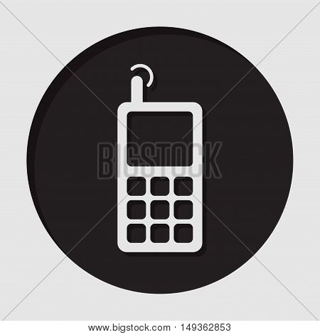 information icon - dark circle white old mobile phone with antenna signal and shadow
