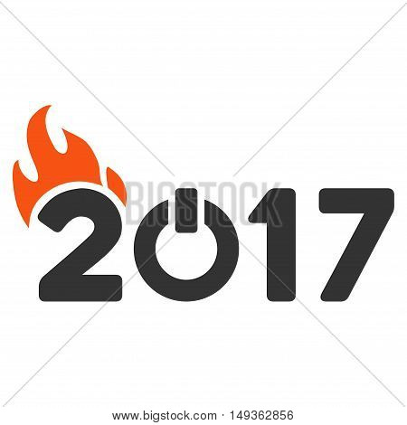 Fired 2017 Year Caption icon. Vector style is flat iconic symbol on a white background.