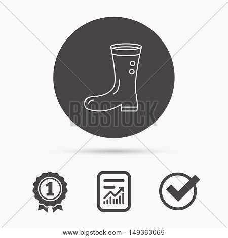 Boots icon. Garden rubber shoes sign. Waterproof wear symbol. Report document, winner award and tick. Round circle button with icon. Vector