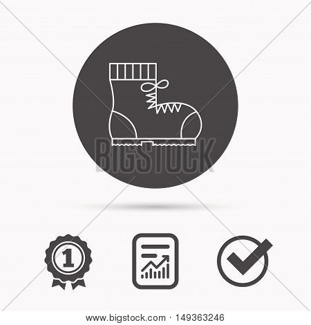 Boot icon. Hiking or work shoe sign. Military footwear symbol. Report document, winner award and tick. Round circle button with icon. Vector