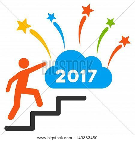 Man Steps to 2017 Dream Fireworks icon. Vector style is flat iconic symbol on a white background.