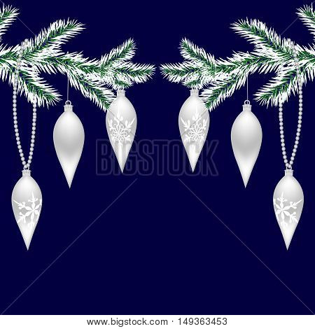 Two Silvered With Frost Tree Branches With Toys For The New Year. Christmas Spruce Branches. Isolate
