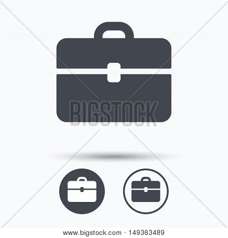 Briefcase icon. Diplomat handbag symbol. Business case sign. Circle buttons with flat web icon on white background. Vector