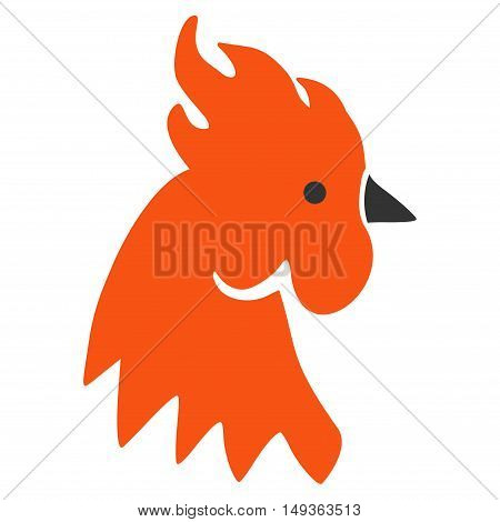 Red Rooster icon. Vector style is flat iconic symbol on a white background.