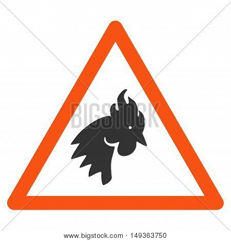 Rooster Warning icon. Vector style is flat iconic symbol on a white background.