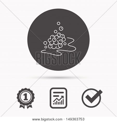 Bubbles icon. Foam for bathing sign. Washing or shampoo symbol. Report document, winner award and tick. Round circle button with icon. Vector