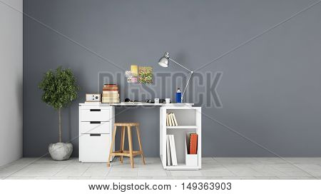 Desk in front of wall in home office study room (3D Rendering)